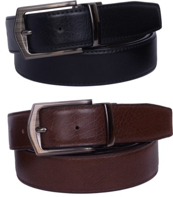 YOURS LUGGAGE Boys, Men Black, Brown Synthetic, Artificial Leather Reversible Belt