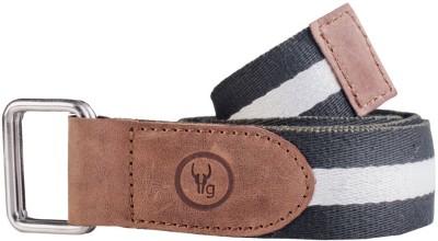 Hidegear Men Casual Black Genuine Leather, Canvas Belt