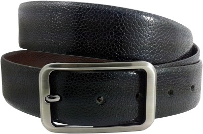 Sanshul Men Party Black Genuine Leather Reversible Belt