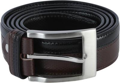 TIE & CUFFS Men Party, Formal Black Genuine Leather Belt