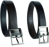 Revo Men Formal Black Genuine Leather Reversible Belt