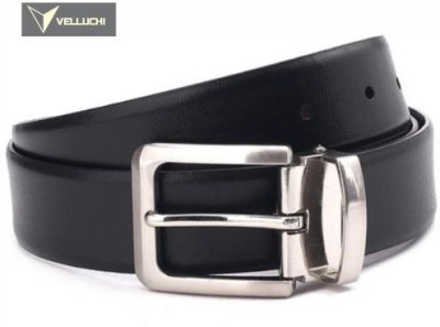 Velluchi Men, Boys Black Genuine Leather Belt