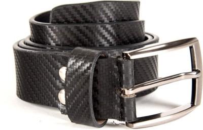 Quero Men Formal Black Genuine Leather, Metal Belt