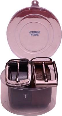 Attitude Works Men Black, Brown Genuine Leather Belt