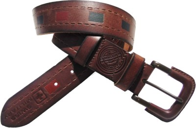 Swiss Military Men Formal, Evening, Party Brown Genuine Leather Belt