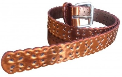 NeedyBee Girls Casual Orange Artificial Leather Reversible Belt