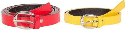 Mdr Collections Girls Formal Yellow, Red Artificial Leather Belt
