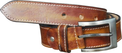 Adhaans Men Casual Beige Genuine Leather Belt