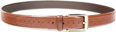 Quero Men Formal Brown Genuine Leather, Metal Belt