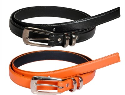 Swan Collection Girls, Women Casual, Formal, Evening Black, Orange Artificial Leather Belt