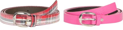 Mdr Collections Girls Formal Maroon, Pink Artificial Leather Belt