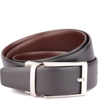 Ohm Leather Men Formal Black Genuine Leather Reversible Belt