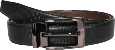 Lenin Men Casual Black Genuine Leather Reversible Belt