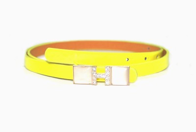 Amafhh Girls Party Yellow Artificial Leather Belt