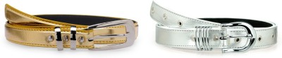 Allura Women Evening, Party, Casual, Formal Gold, White Synthetic Belt
