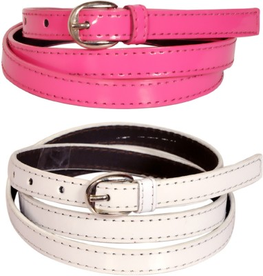 Swan Collection Girls, Women Casual, Formal, Evening Pink, White Artificial Leather Belt