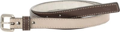 Ilina Women Casual Beige, Brown Genuine Leather, Metal Belt