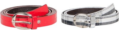 Mdr Collections Girls Formal Black, Red Artificial Leather Belt