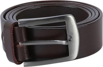 TIE & CUFFS Men Formal, Party Brown Genuine Leather Belt