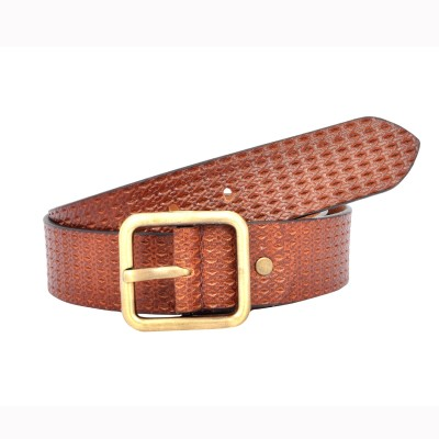 Leo Men Casual Tan Genuine Leather Belt