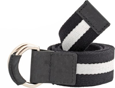 tZaro Women, Men Casual Black, White Genuine Leather, Metal, Fabric Belt