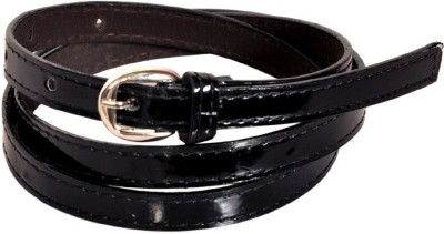Swan Collection Girls, Women Casual, Formal Black Artificial Leather Belt