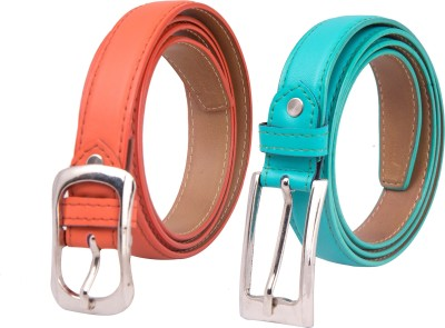Spairow Girls Party Orange, Green Synthetic Belt