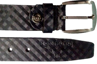 Longhorns Men Casual Black Genuine Leather Belt