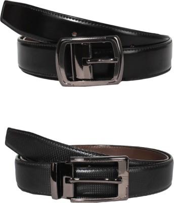 Lenin Men Formal Black Genuine Leather Reversible Belt