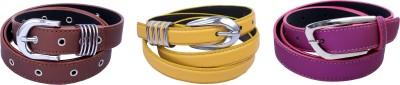 Contra Girls Brown, Yellow, Pink Artificial Leather Belt