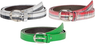 Mdr Collections Girls Formal Black, Maroon, Green Artificial Leather Belt
