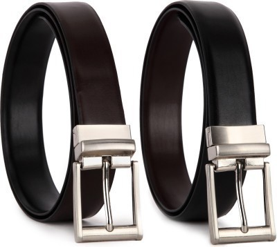 Kirli Men Black Genuine Leather Reversible Belt