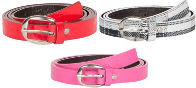 Mdr Collections Girls Formal Maroon, Pink, Red Artificial Leather Belt