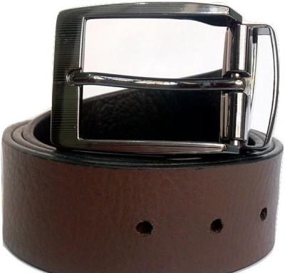 Coblivi Men Brown Genuine Leather Reversible Belt