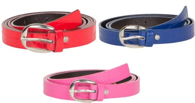 Mdr Collections Girls Formal Blue, Pink, Red Artificial Leather Belt