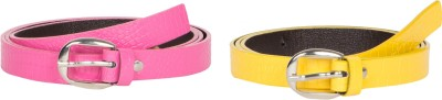 Mdr Collections Girls Formal Yellow, Pink Artificial Leather Belt