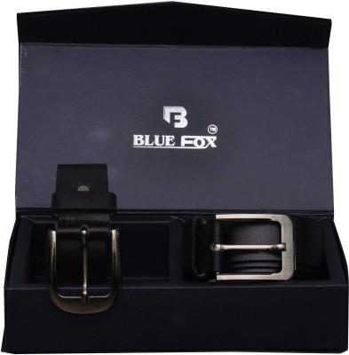 BLUE FOX Men Formal Black Genuine Leather Belt