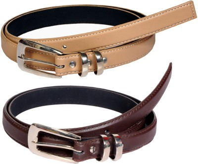 Swan Collection Girls, Women Casual, Formal, Evening Beige, Brown Artificial Leather Belt