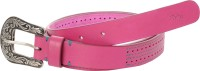 Ilina Women Casual Pink Genuine Leather, Metal Belt