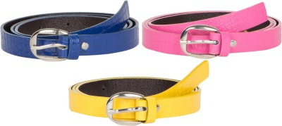 Mdr Collections Girls Formal Yellow, Blue, Pink Artificial Leather Belt
