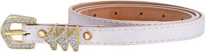 palito Girls, Women White Genuine Leather Belt