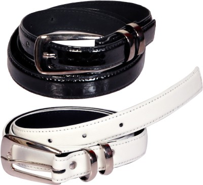 Swan Collection Girls, Women Casual, Formal, Evening Black, White Artificial Leather Belt