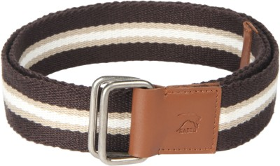 Kaizu Men Casual Brown Canvas, Genuine Leather Belt