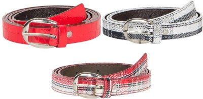 Mdr Collections Girls Formal Red, Black, Maroon Artificial Leather Belt