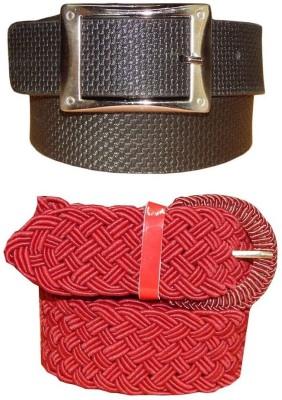 Ansari Men, Women Black, Red Genuine Leather, Fabric Belt