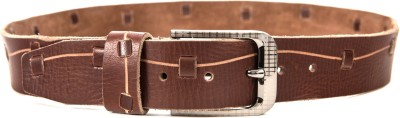 Quero Men Casual Brown Genuine Leather, Metal Belt