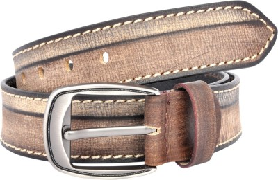 Leo Men Casual Beige Genuine Leather Belt