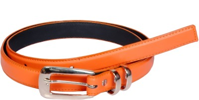 Swan Collection Girls, Women Casual, Formal Orange Artificial Leather Belt