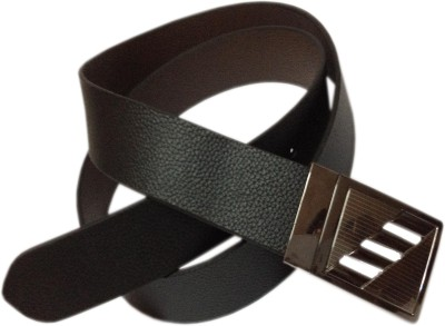RK International Men Party Black Genuine Leather Reversible Belt