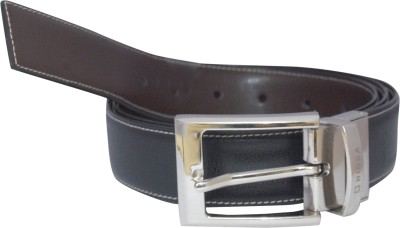 Hidea Men Formal Black, Tan Genuine Leather Reversible Belt